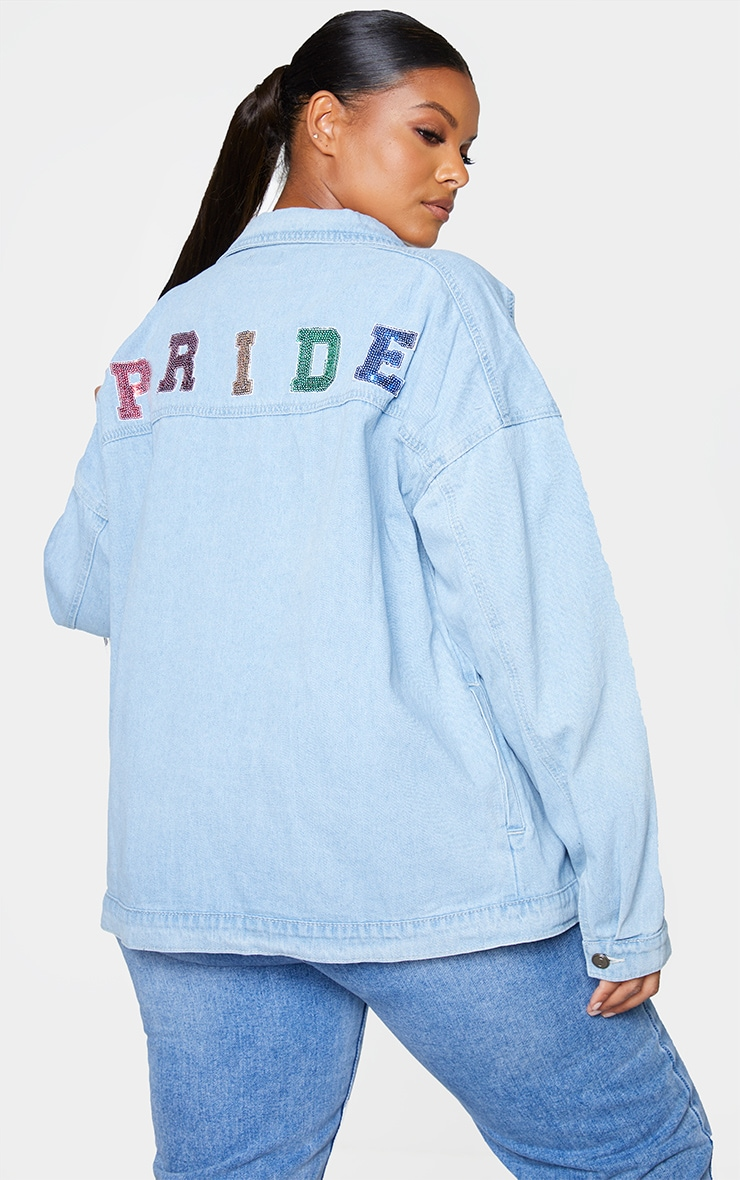 Plus Mid Blue Wash Pride Sequin Embellished Denim Jacket 1