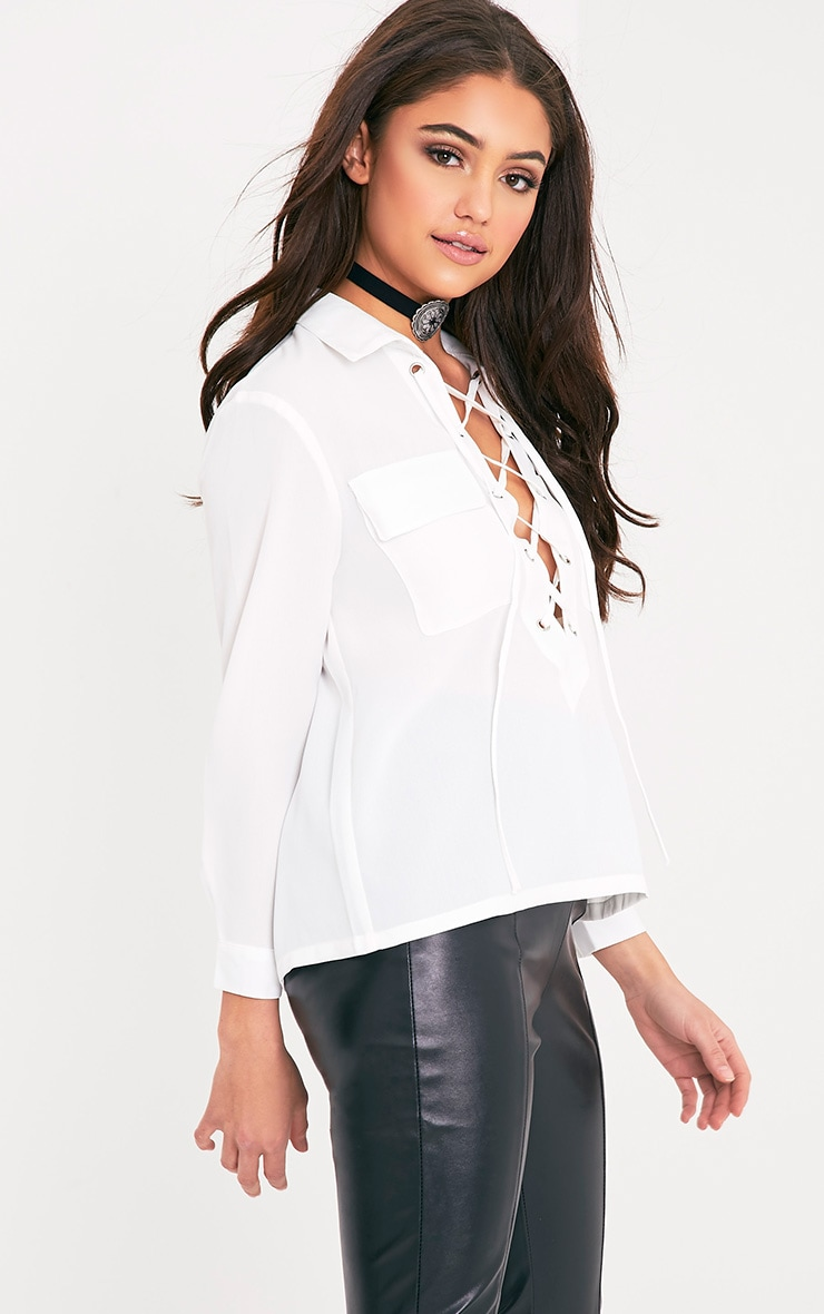 Yazmin Cream Lace Up Pocket Shirt 4