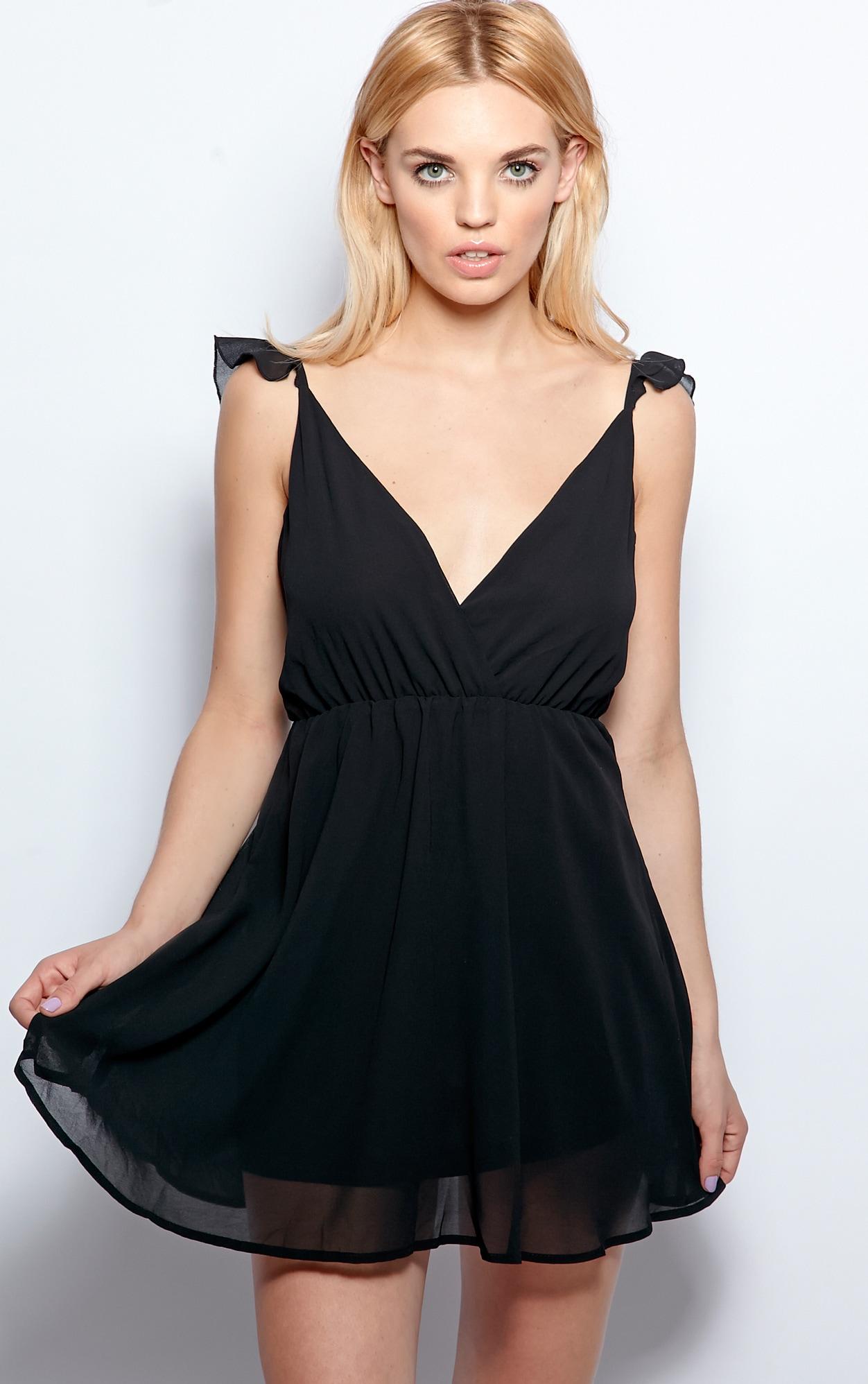 Corinne Black Chiffon Babydoll Dress 3