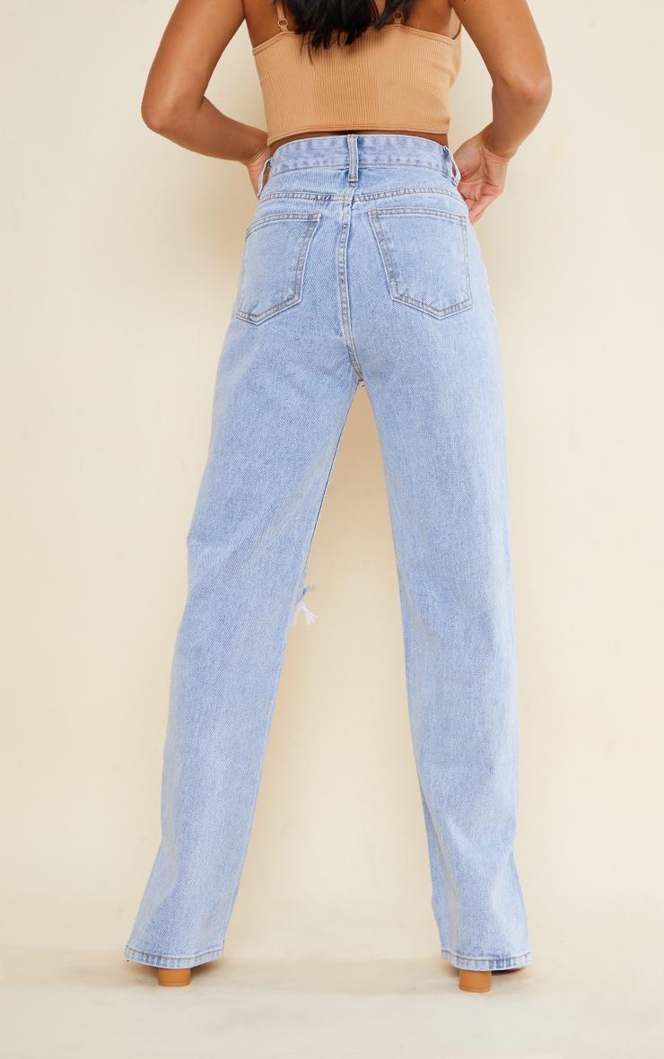 Petite Bleach Wash Ripped Split Hem Jeans 3