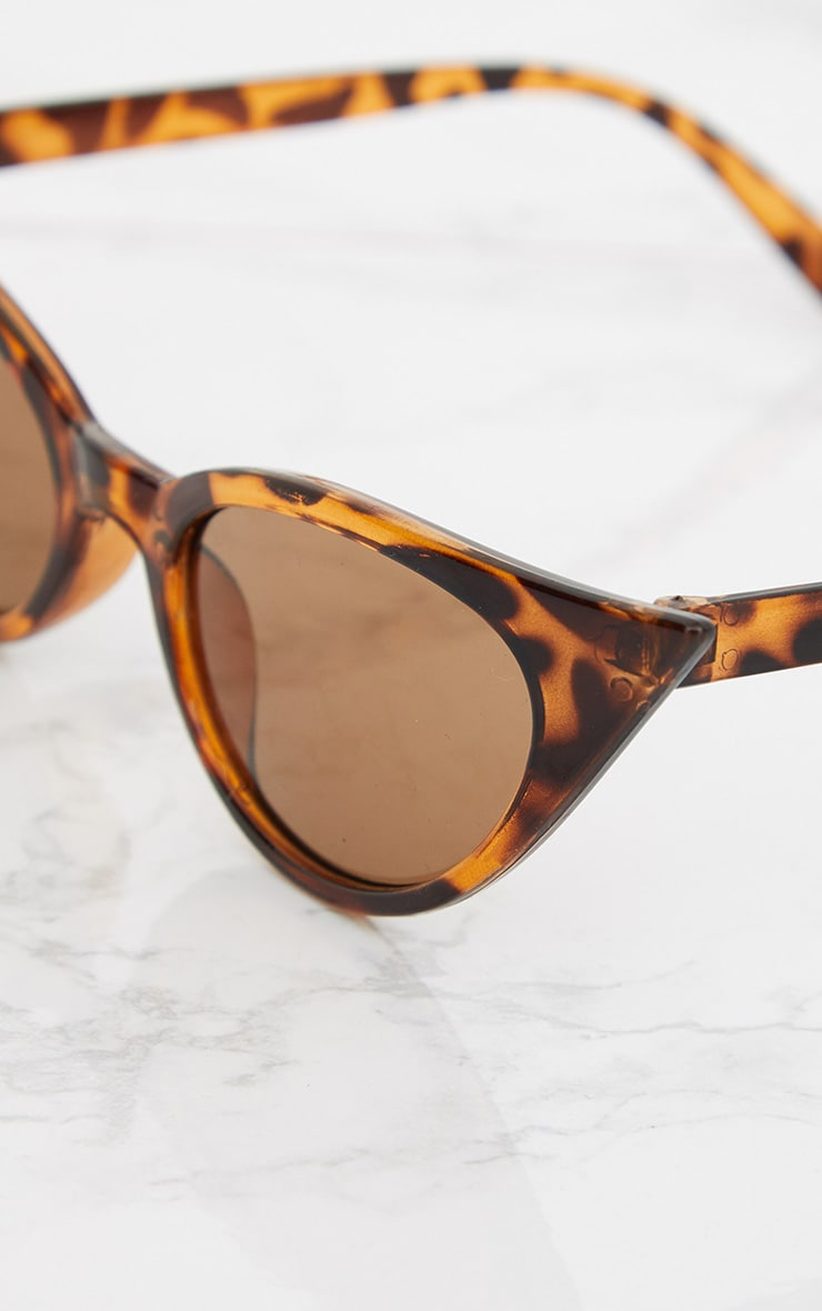 Brown Tortoiseshell Extreme Cat Eye Retro Sunglasses 6