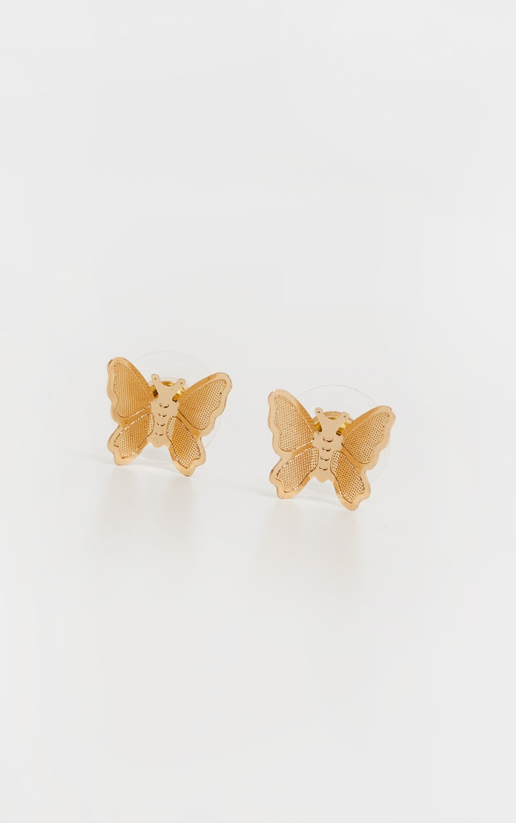 Gold Simple Butterfly Stud Earrings 2