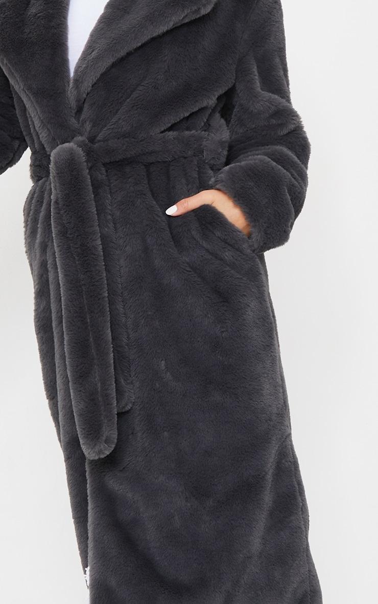 Petite Grey Belted Faux Fur Coat 4