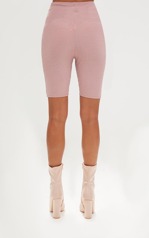 Light Pink Ribbed Shimmer Cycle Shorts 3