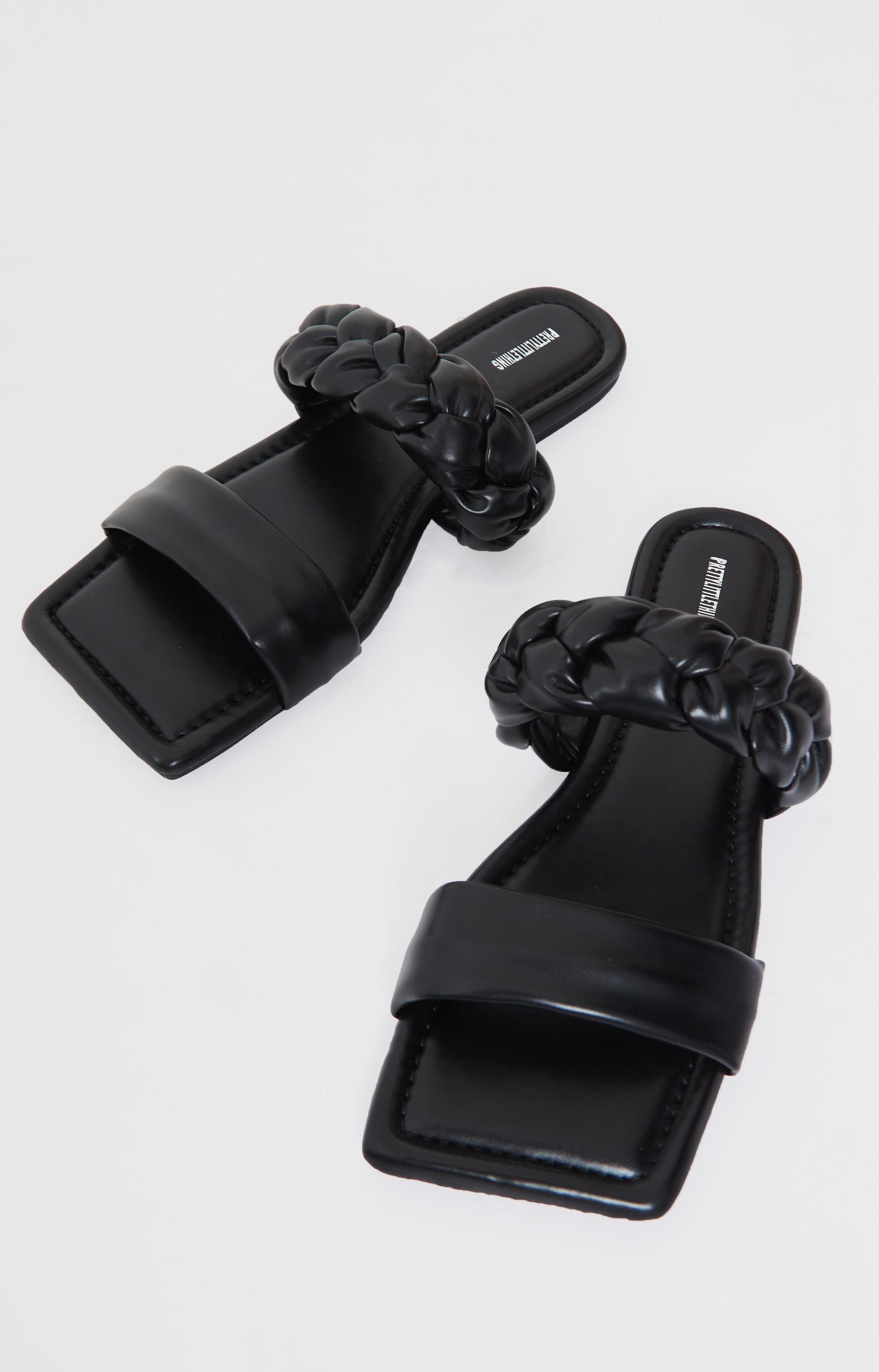 Black PU Double Strap Plaited Mule Sandals 3