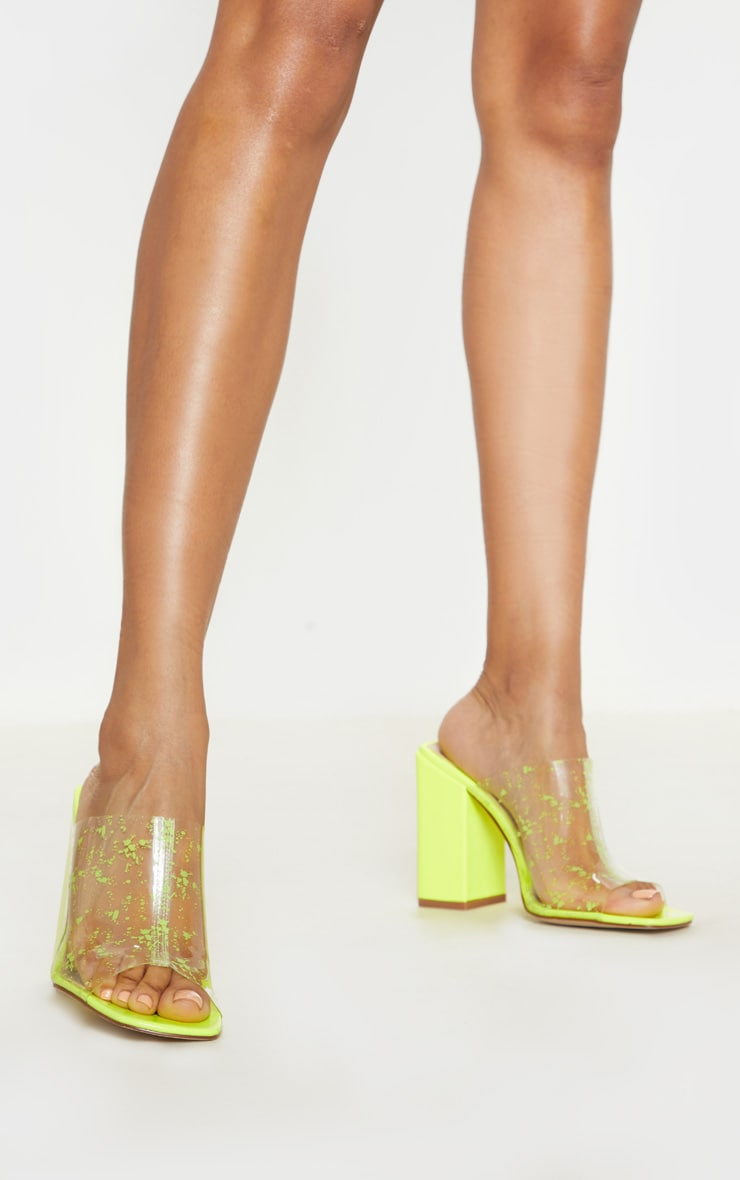 Neon Lime Paint Splash Clear Block Heel Mule 1