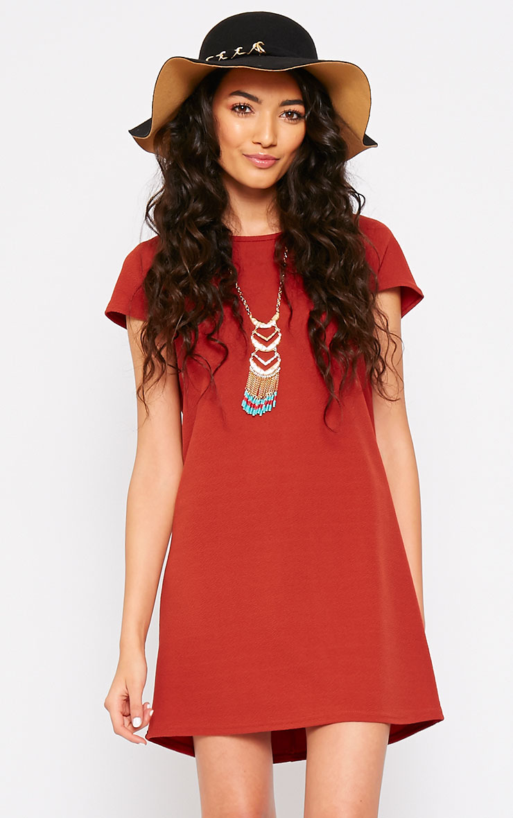 Camila Rust Loose Fit Shift Dress 1