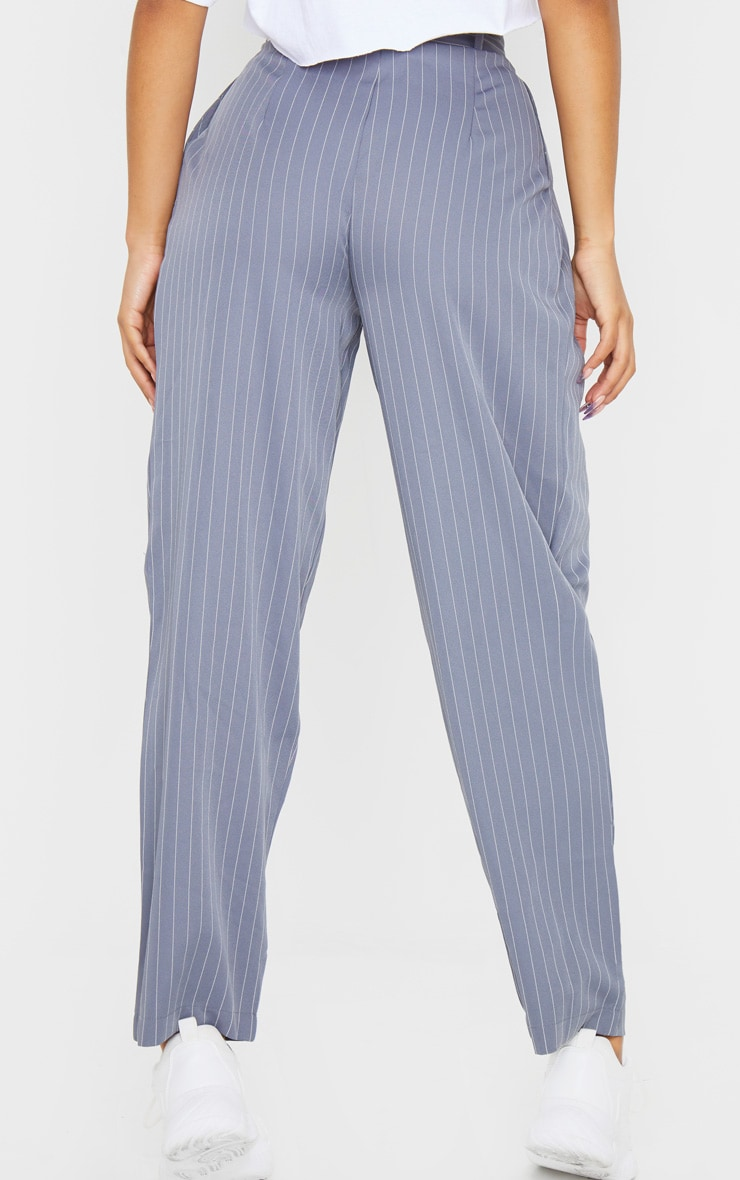 Charcoal Grey Pinstripe Woven High Waisted Cigarette Trousers 4