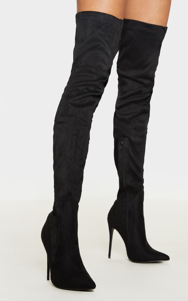 Emmi Black Faux Suede Extreme Thigh High Heeled Boots 1
