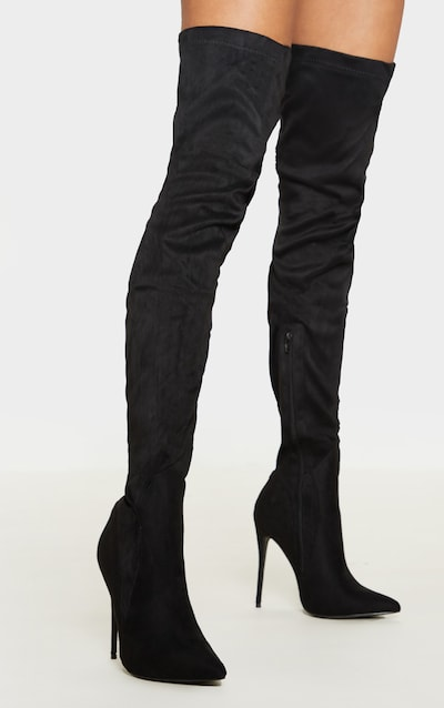 wholesale dealer 2746c ceb88 Emmi Black Faux Suede Extreme Thigh High Heeled Boots