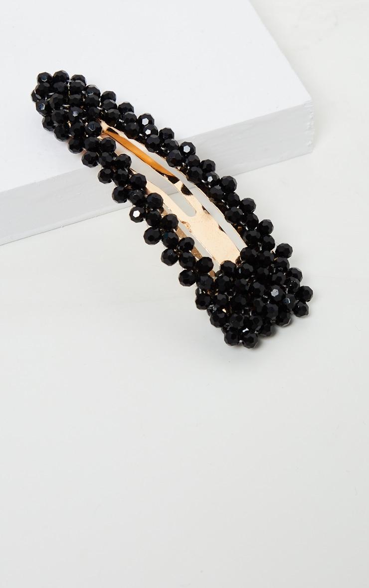Black Crystal Bead Hair Clip 2