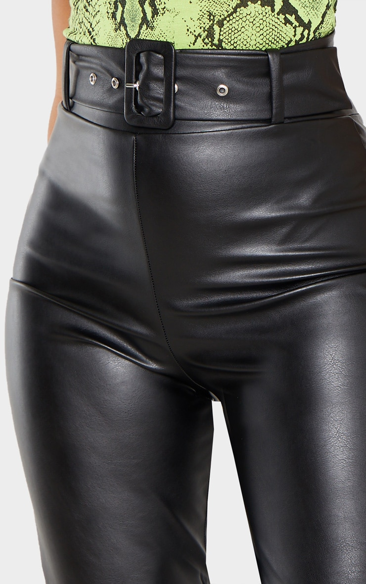Black Faux Leather Belted Skinny Pants  5