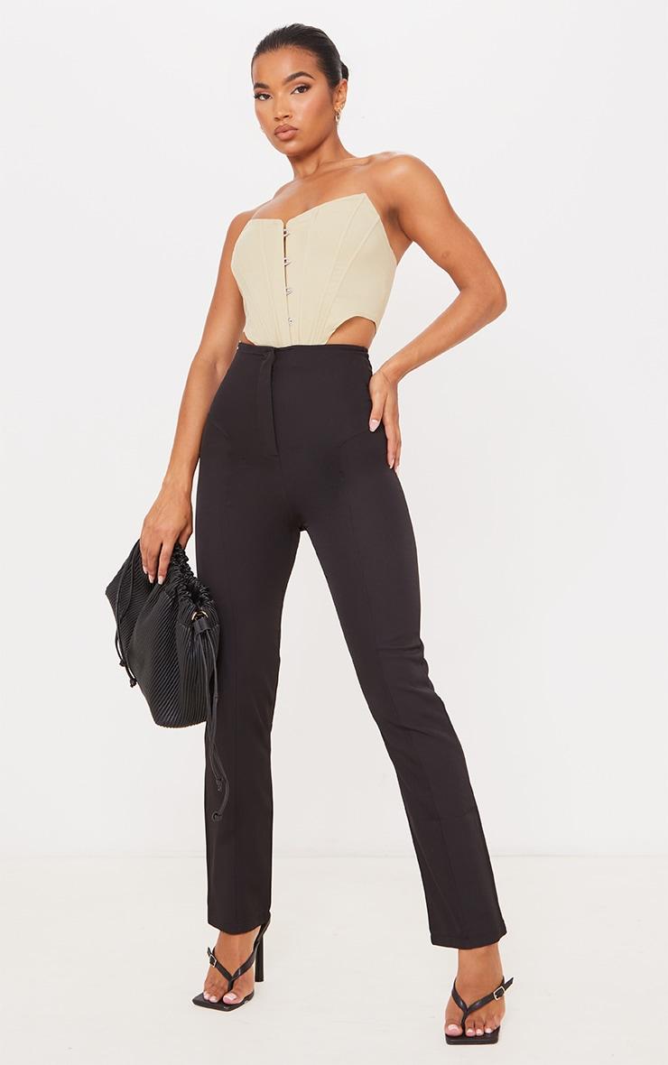 Black High Waisted Seam Detail Straight Leg Pants 1