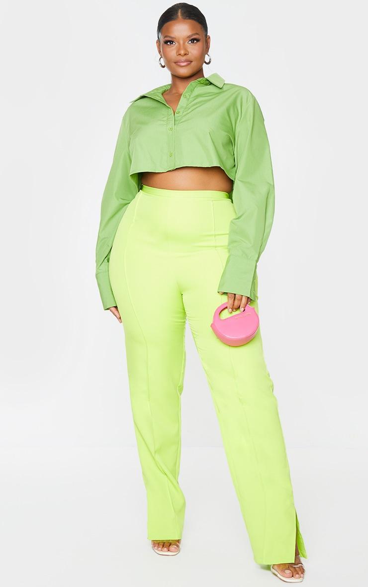 Plus Bright Green Cotton Oversized Crop Shirt 1