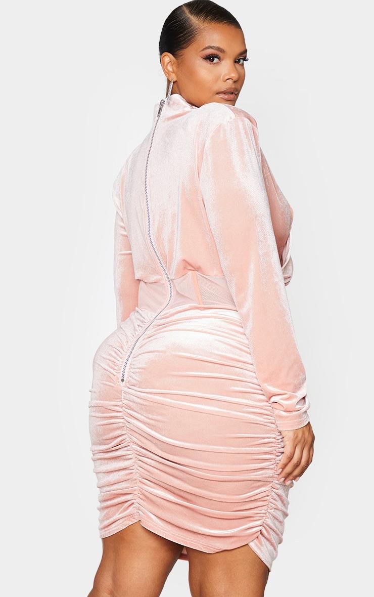 Plus Dusty Pink Velvet Shoulder Pad Mesh Panel Midi Dress 3