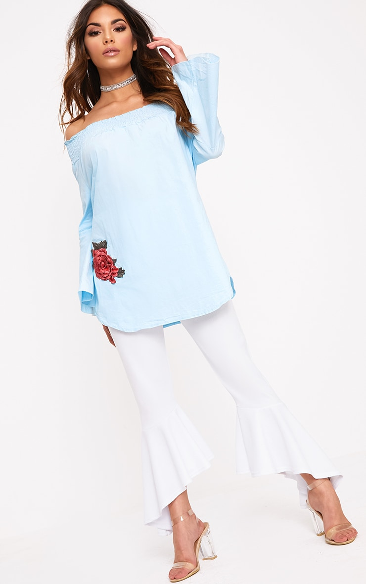 Nairi Blue Floral Applique Bardot Tunic 4
