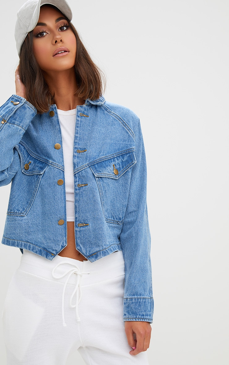 Light Wash Cropped Trucker Denim Jacket 1