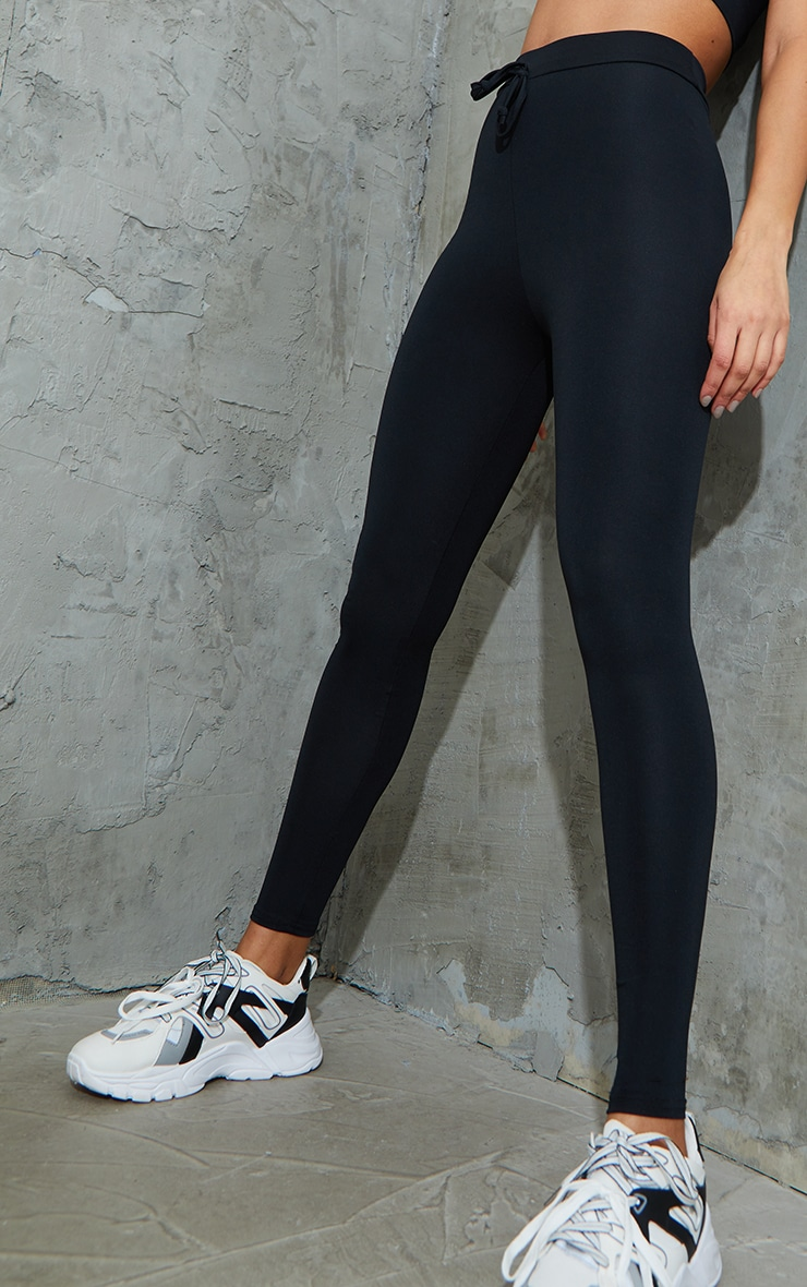 Black Tie Front Super High Waist Sports Leggings 4
