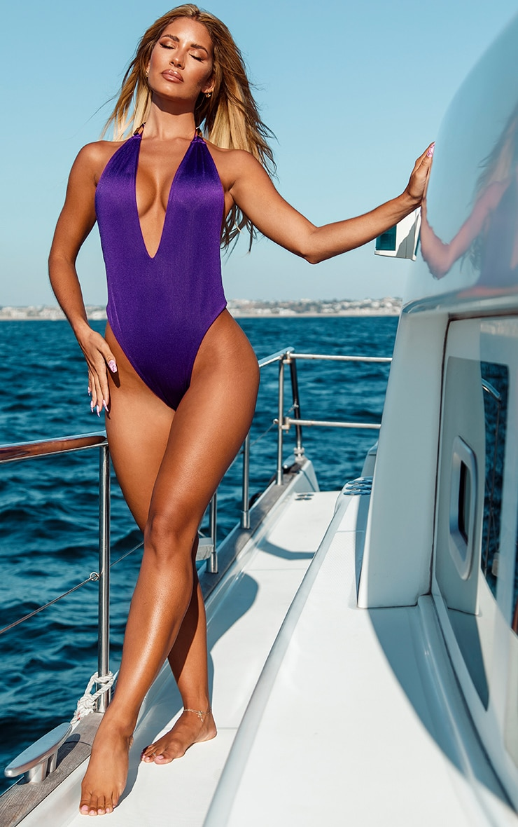 Purple Metal Trim Halterneck Swimsuit 3