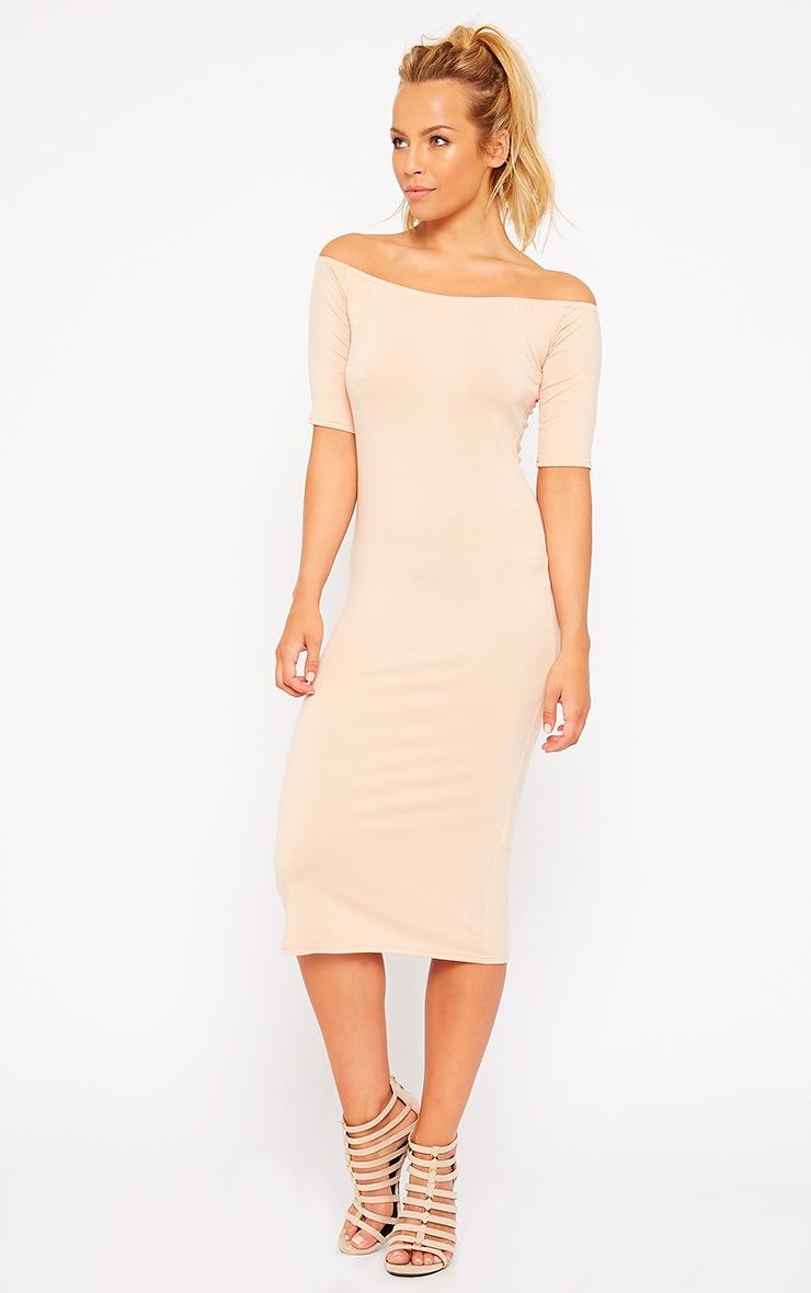 Roxie Nude Bardot Midi Dress 4