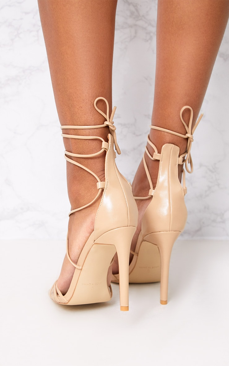 Elaine Nude Lace Up Strappy Heels 3