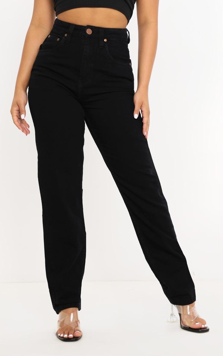 Petite Black Slim Leg Mom Jean 2