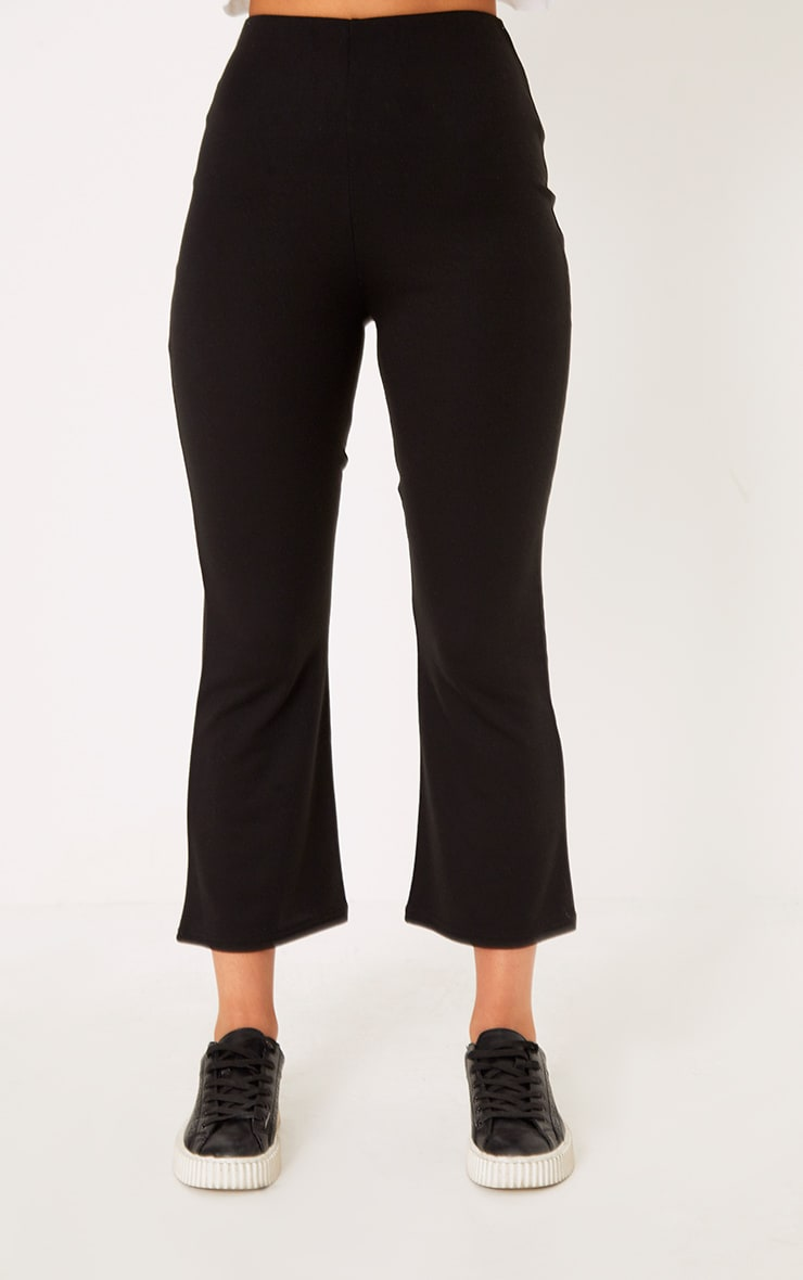 Black Kick Flare Cropped Pants 2