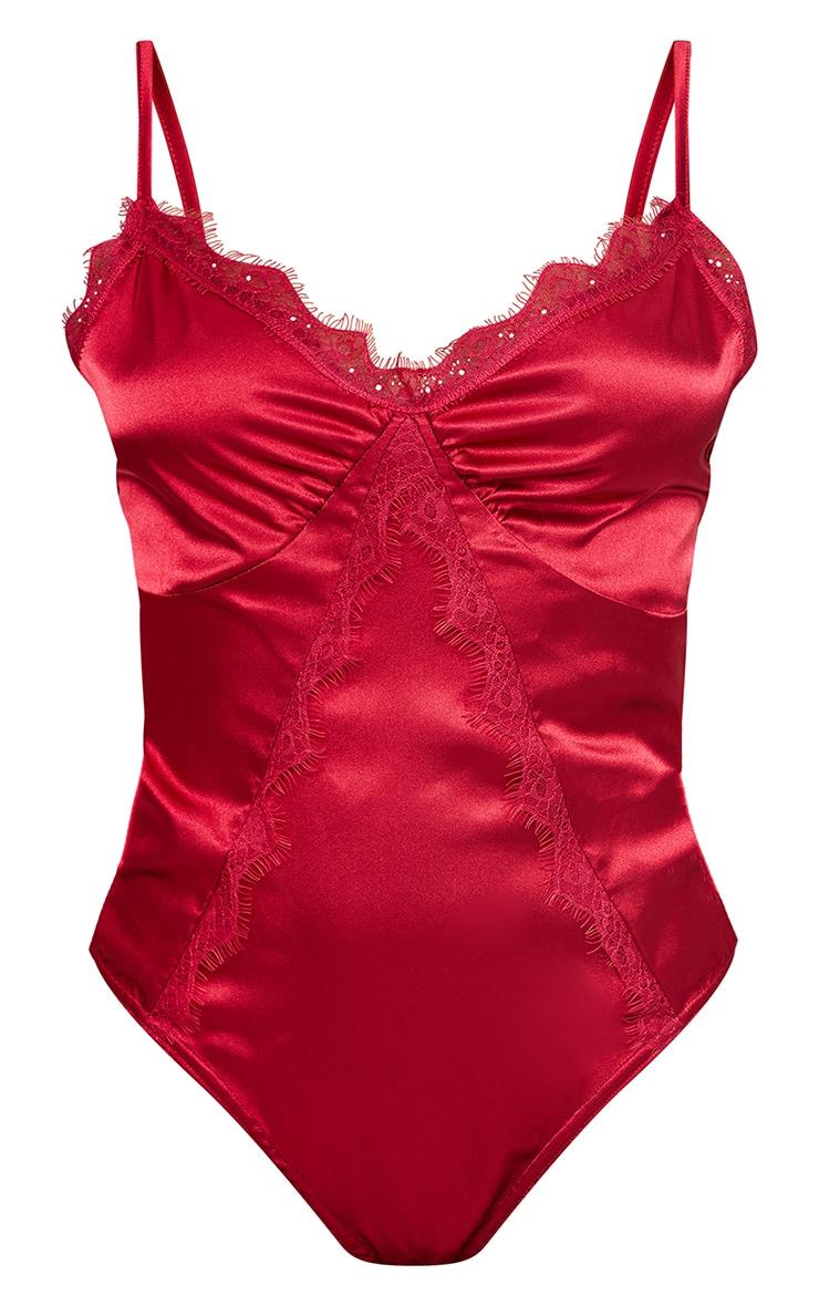 Scarlet Satin Lace Trim Detail Bodysuit 5