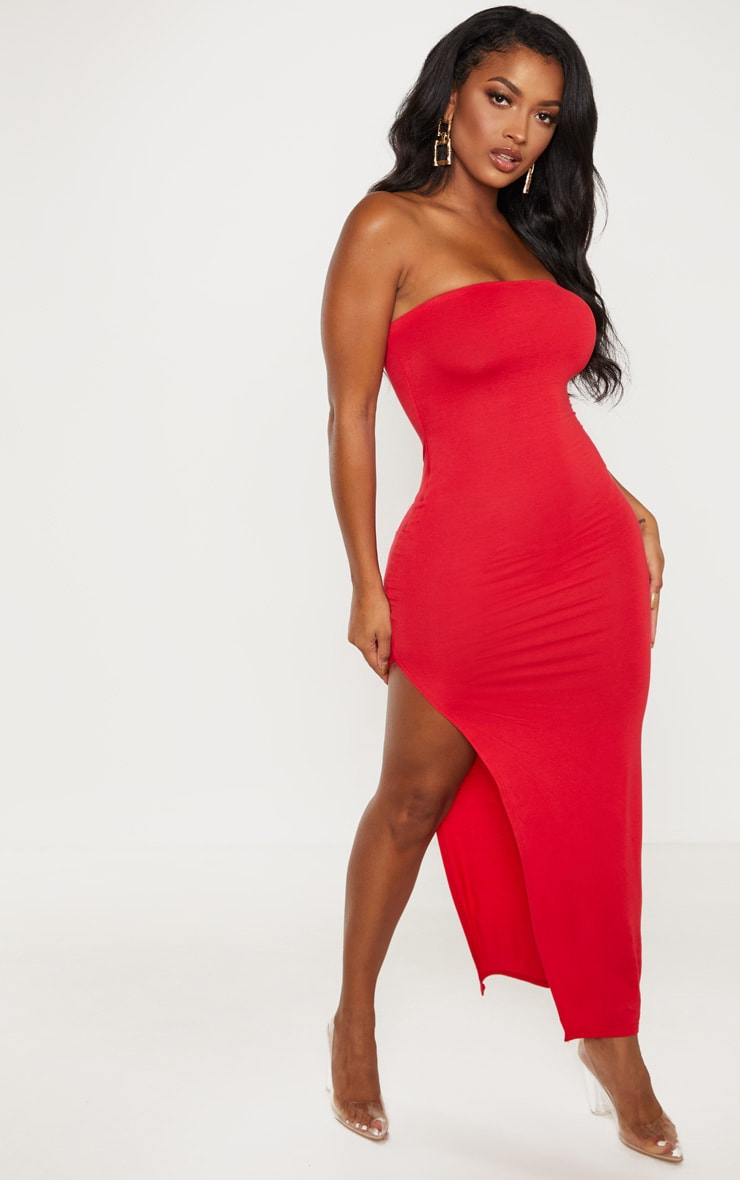 Shape Red Jersey Split Detail Midaxi Dress  4
