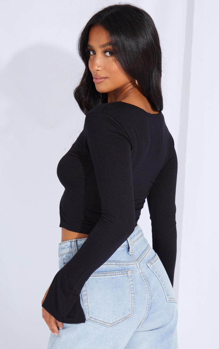 Petite Black Jersey Split Front Crop Top 2