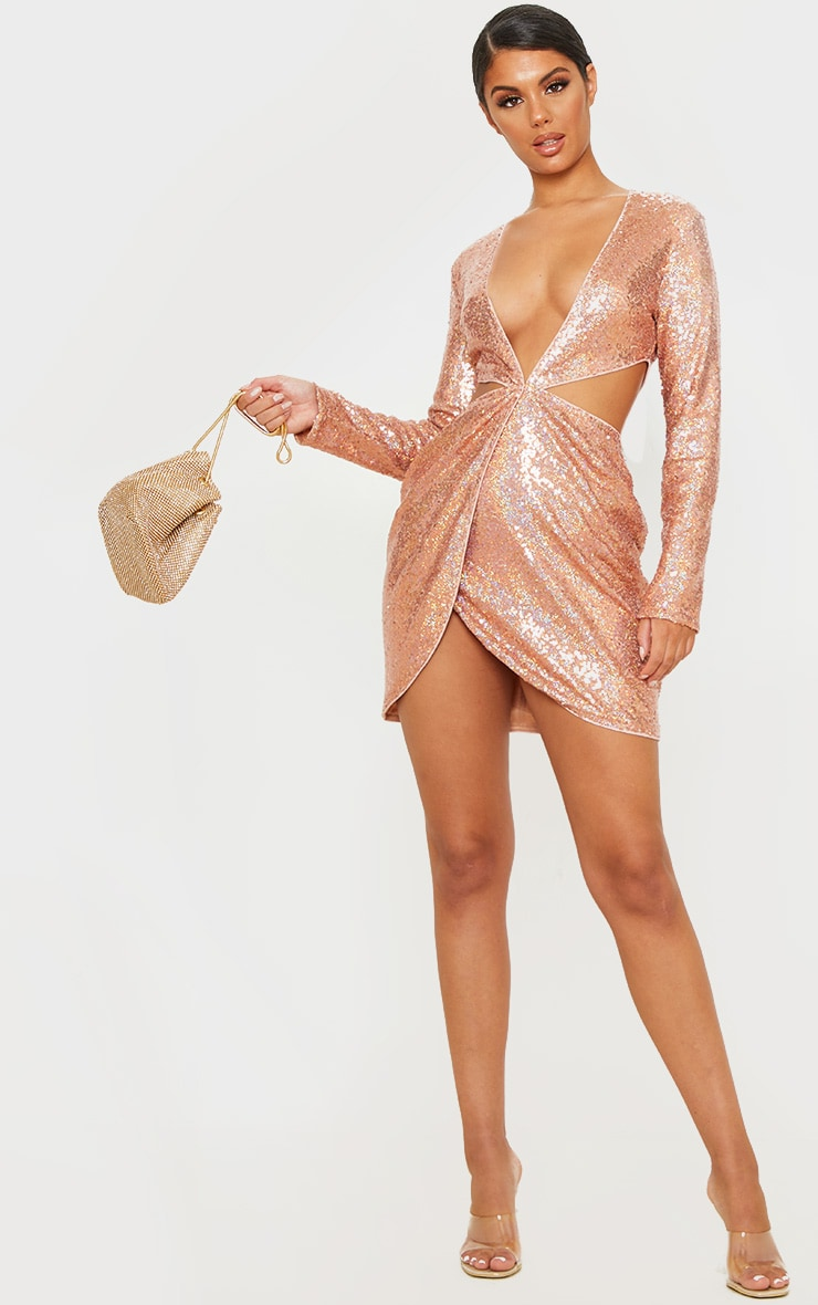 Rose Gold Sequin Long Sleeve Waist Cut Out Bodycon Dress 4