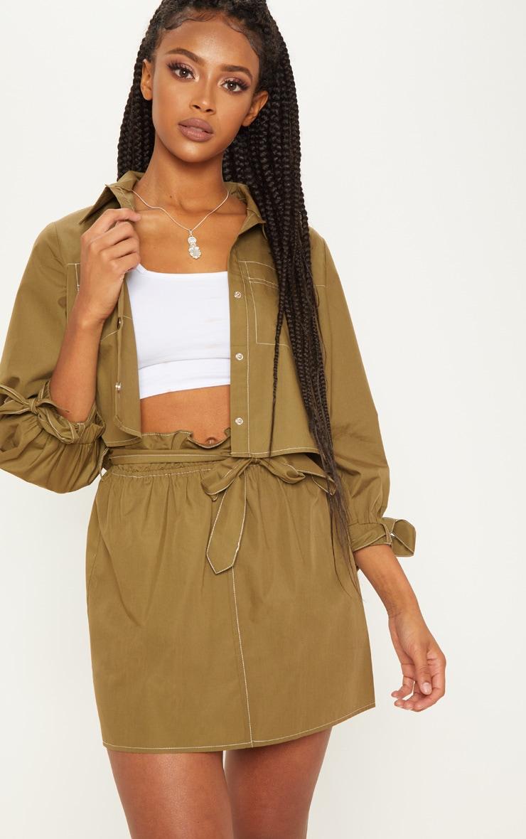 Khaki Paperbag Waist Tie Front Mini Skirt