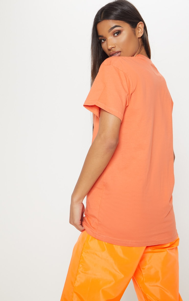 Neon Orange Living Better Print T shirt 2