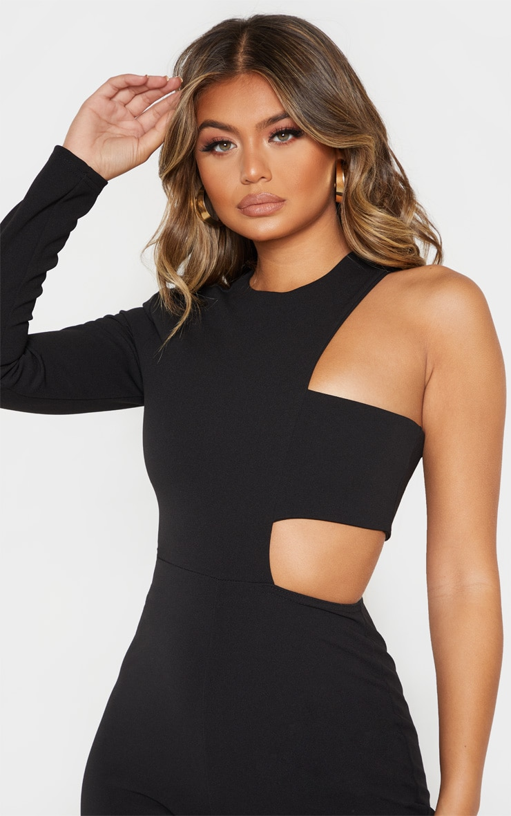 Black One Shoulder Flare Leg Jumpsuit 5
