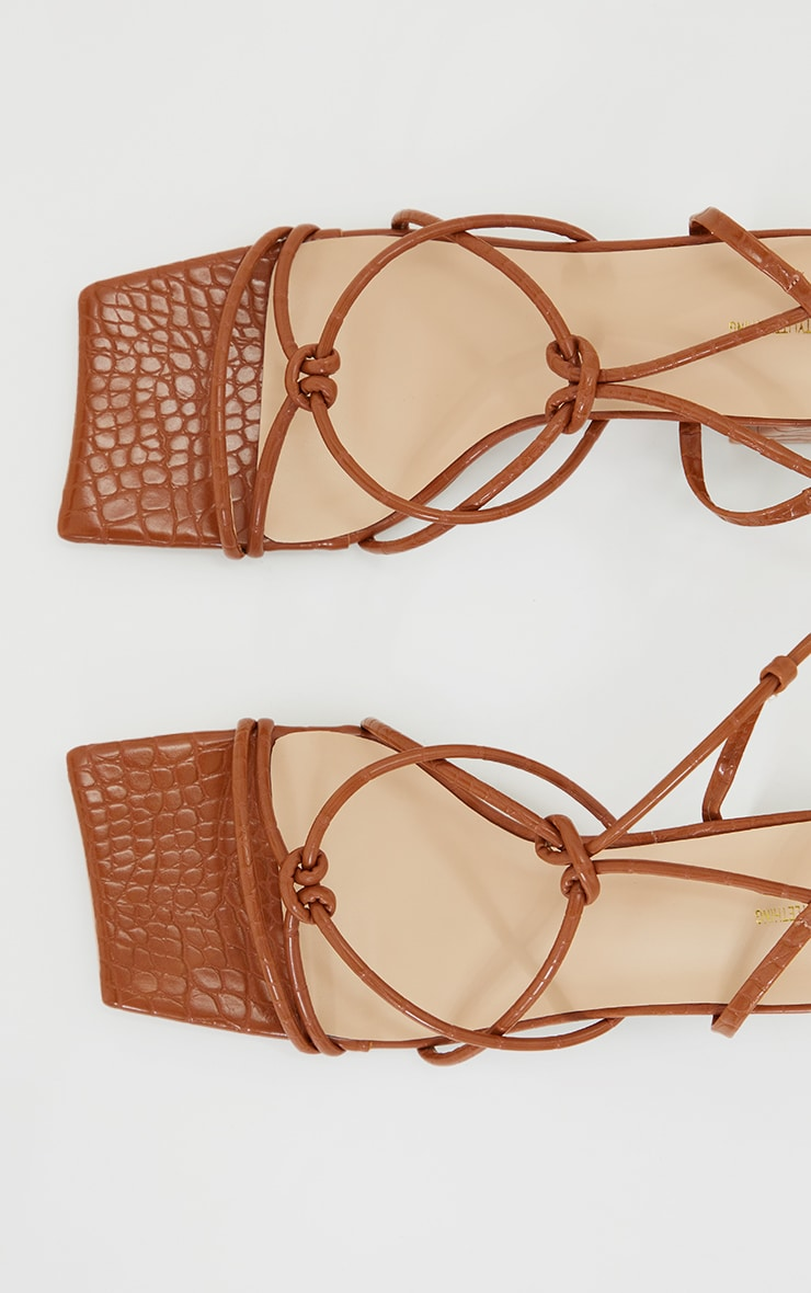 Tan Wide Fit Square Toe Knotted Lace Up Block Sandals 4