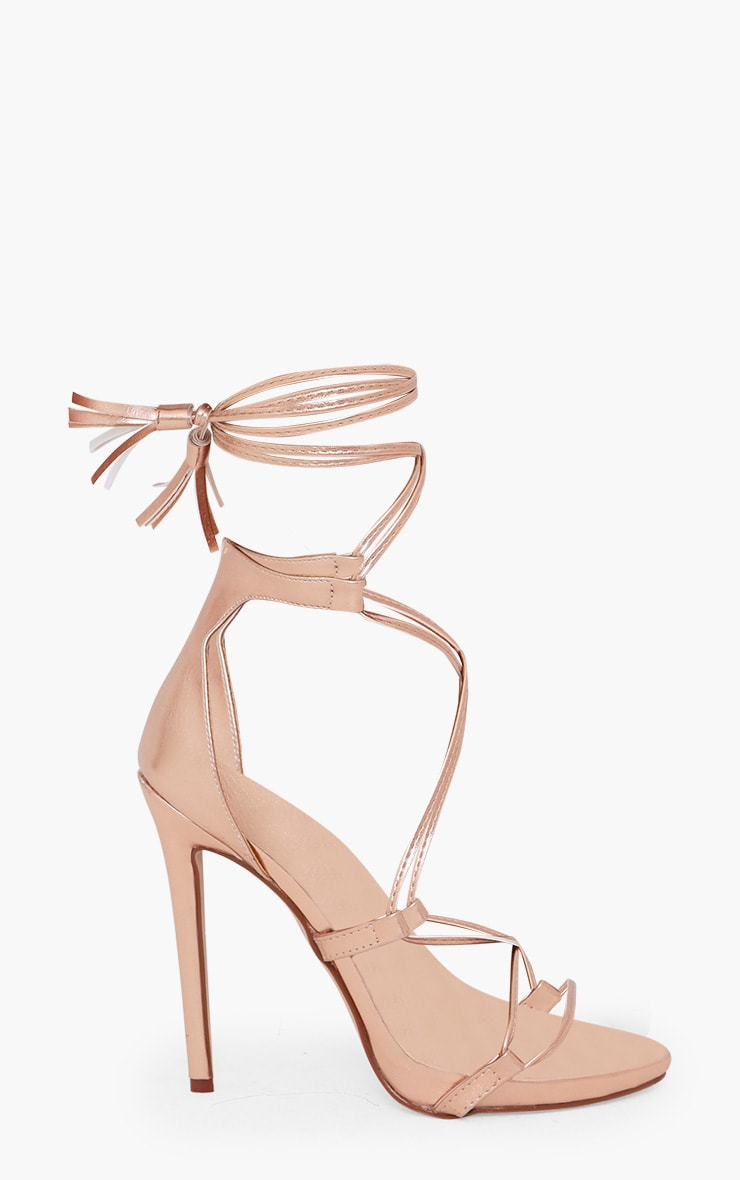 Rose Gold PU Tassel Lace Up Heels 3