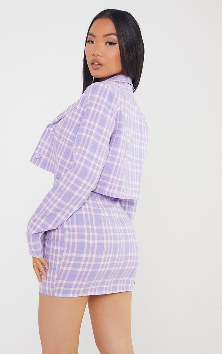 Petite Lilac Cropped Checked Blazer 2