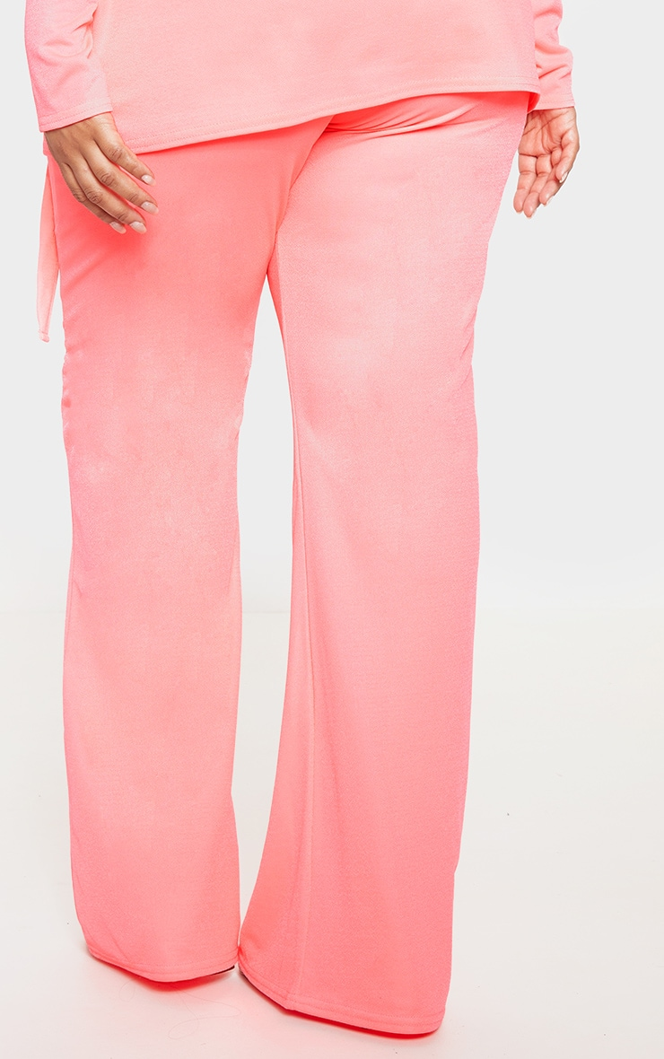 Plus Neon Pink Wide Leg Trouser  4