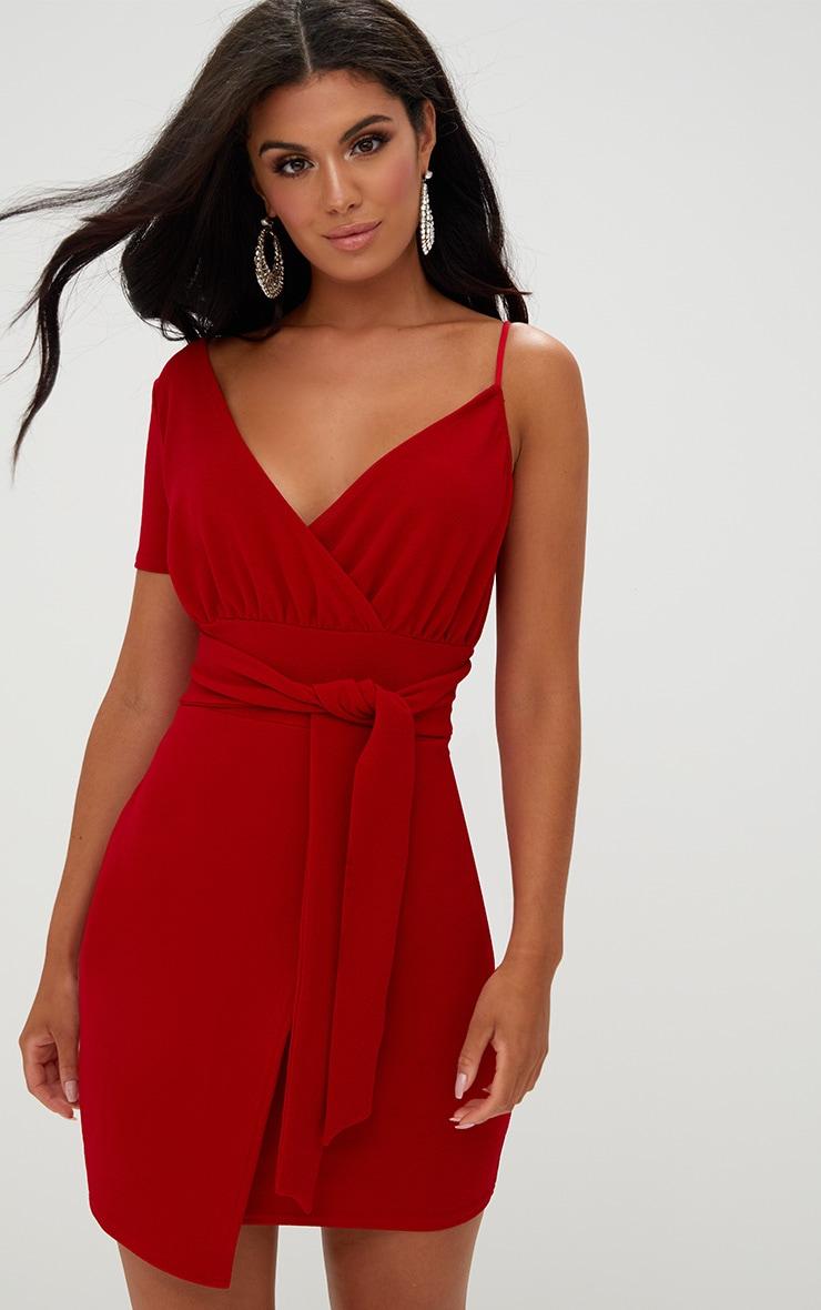 Red Asymmetric Wrap Bodycon Dress 1