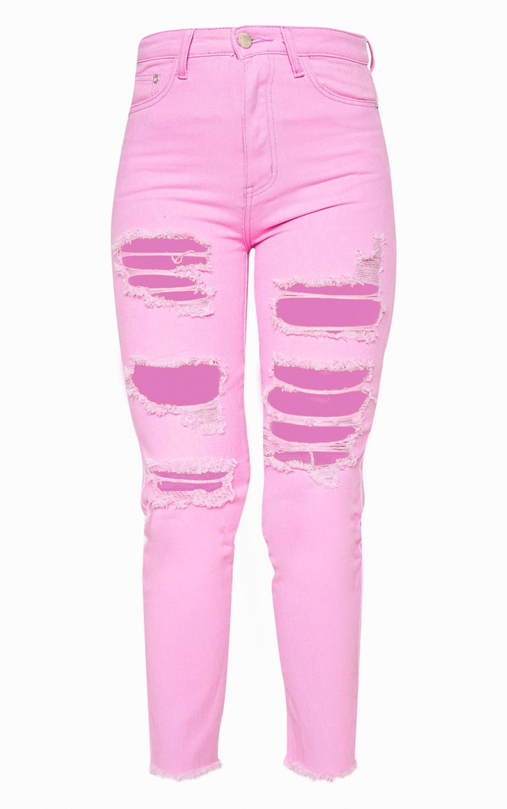 Lilac Extreme Distressed Mom Jeans  3