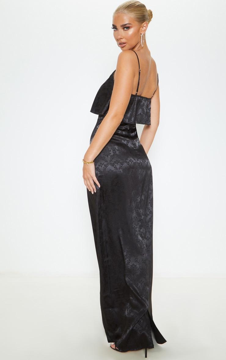 Robe longue en jacquard satiné noir à fines bretelles 2