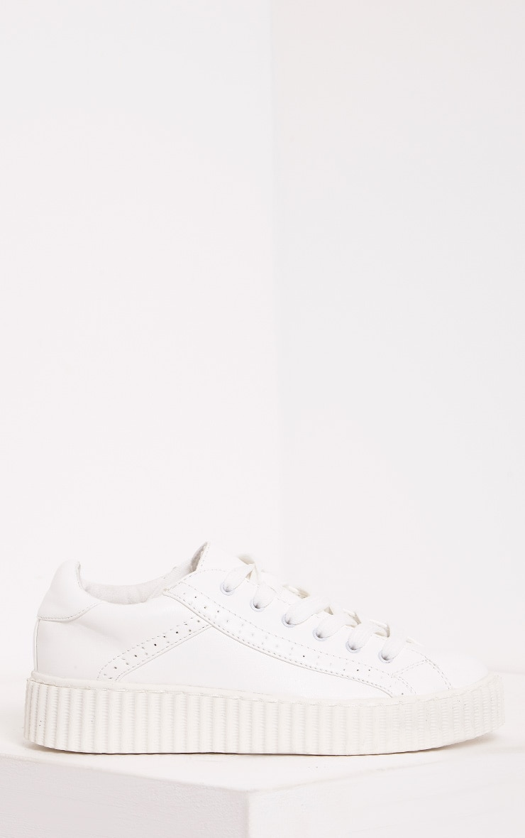 Lorena White PU Creeper Trainers 4