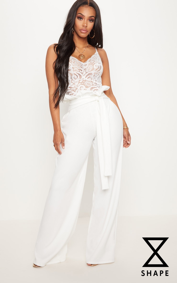 Shape White High Waist Paperbag Wide Leg Trousers 1