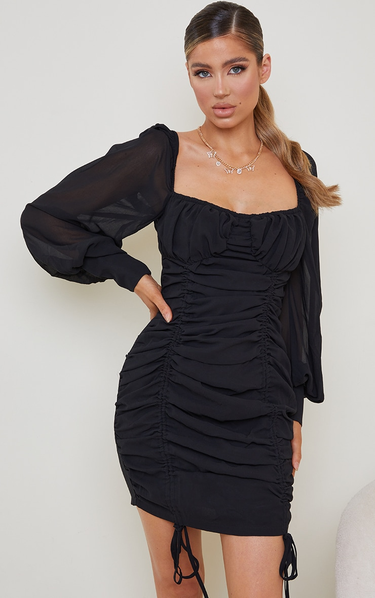 Black Chiffon Long Sleeve Ruched Skirt Bodycon Dress 1