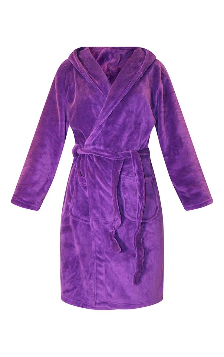 Purple Fleece Hooded Dressing Gown 5