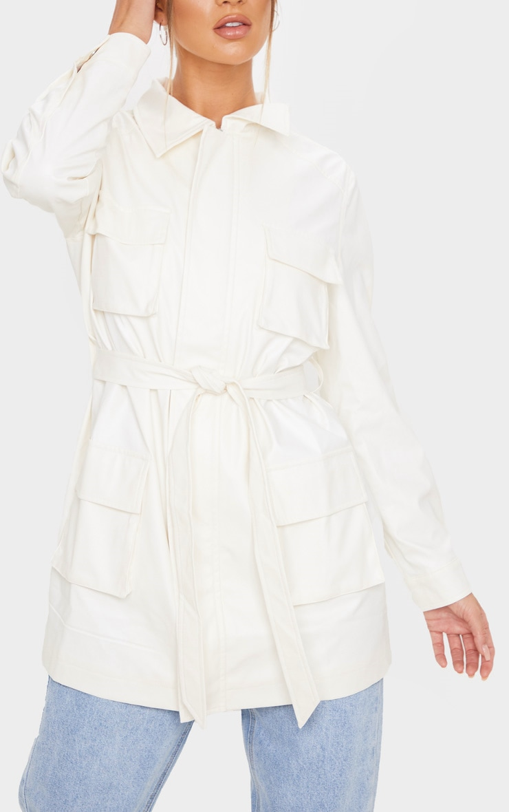 White Faux Leather Pocket Oversized Jacket 5
