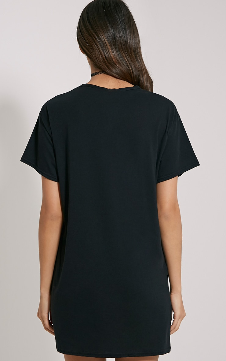 Basic Black Oversized T-Shirt Dress 2