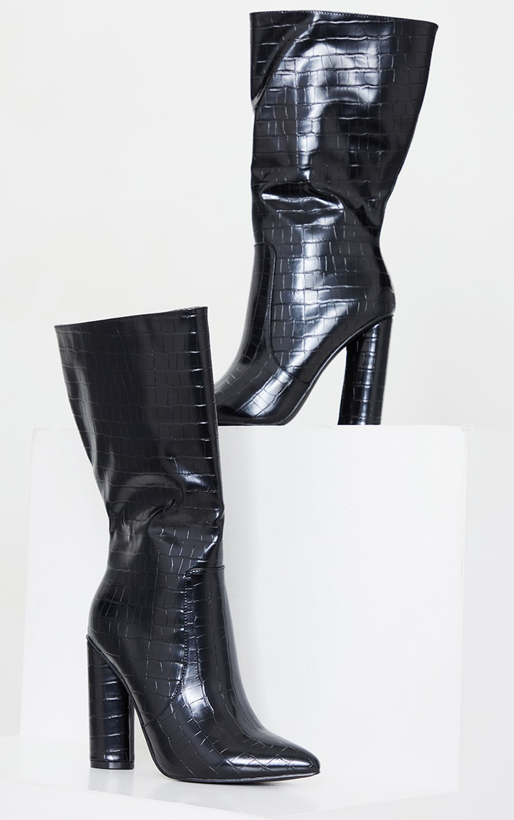 Black Croc Point Toe Round Heel High Calf Boot 4