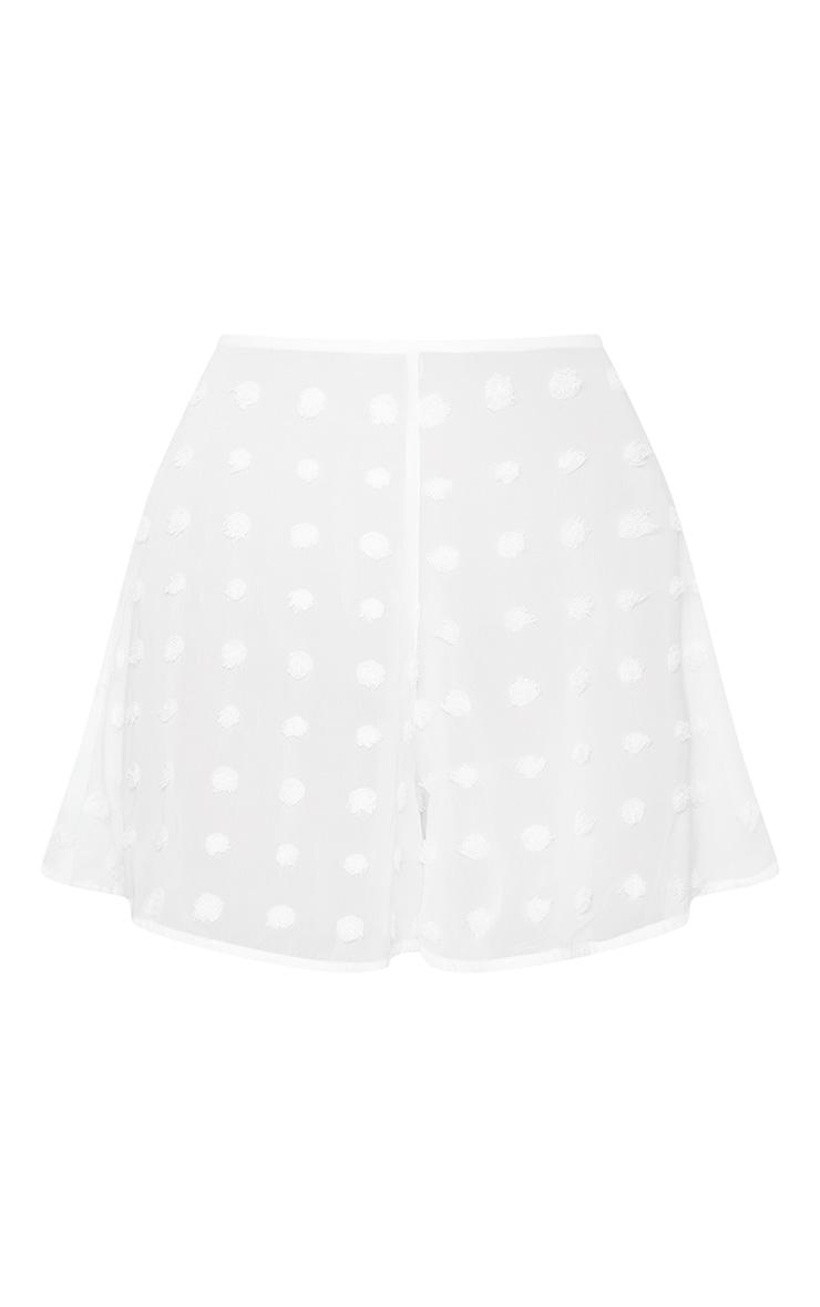 White Large Dobby Chiffon Beach Shorts 6