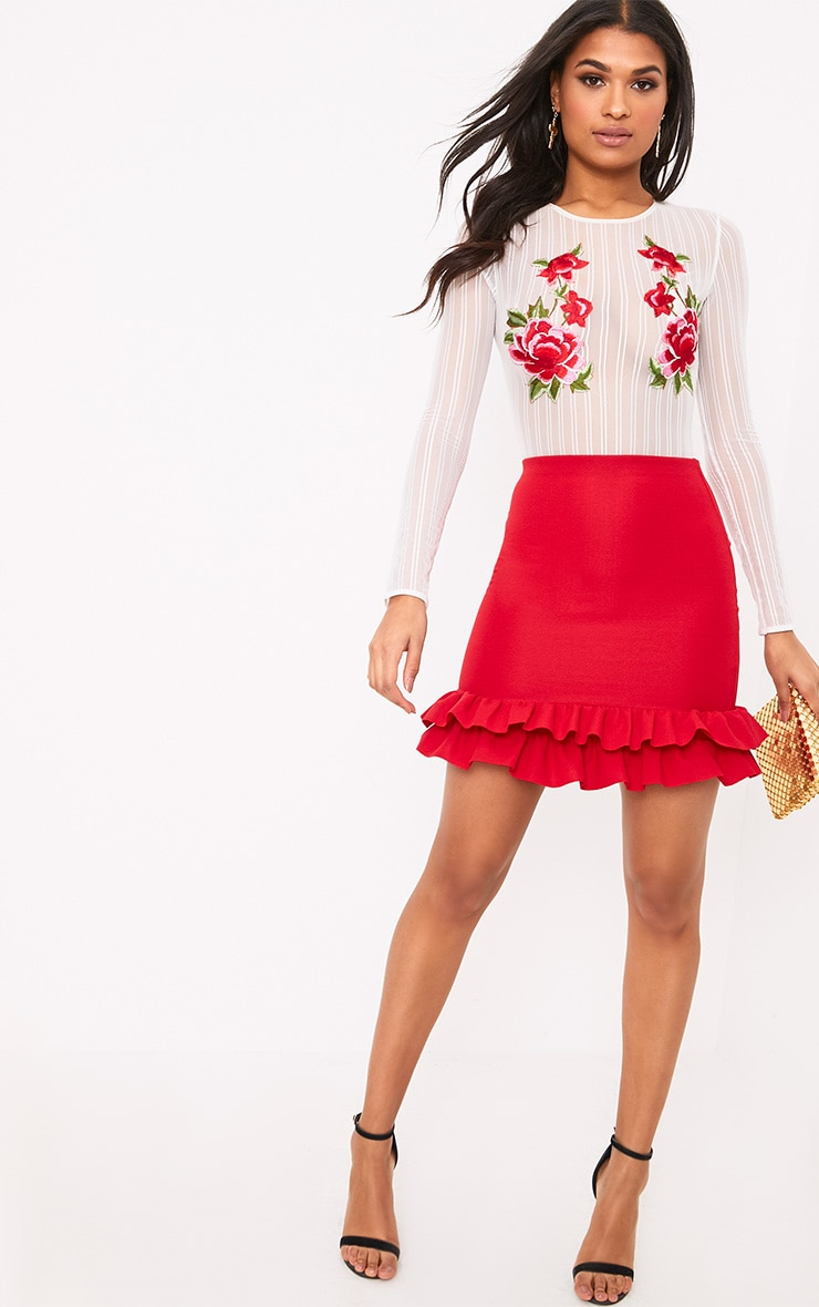 Rhya Red Double Frill  Hem Mini Skirt  5